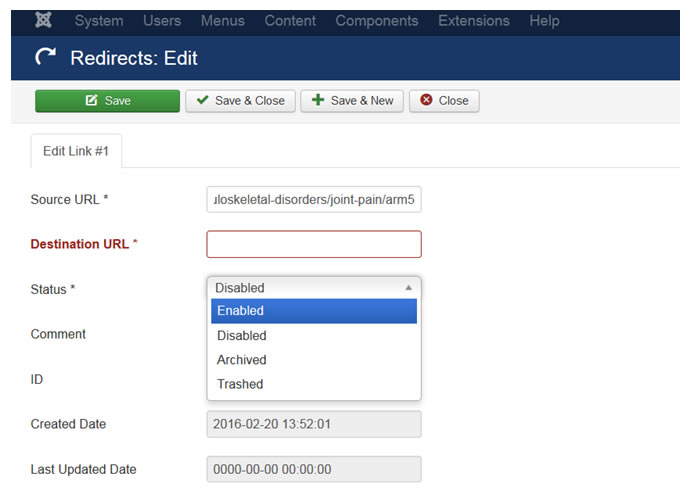 Joomla redirect